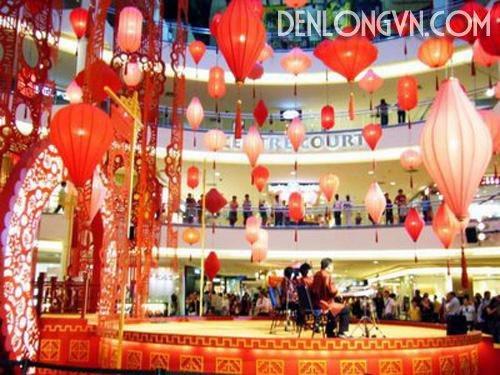 den long trang tri tet trung tam Đèn lồng trang trí tết trung tâm thương mại