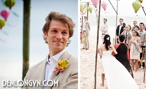 Một trong những khoảnh khắc đặc biệt nhất của lễ cưới là lúc chú rể Pietro đón cô dâu Thúy Vi trước biển