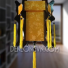 Đèn lồng gỗ vải gấm trúc vàng