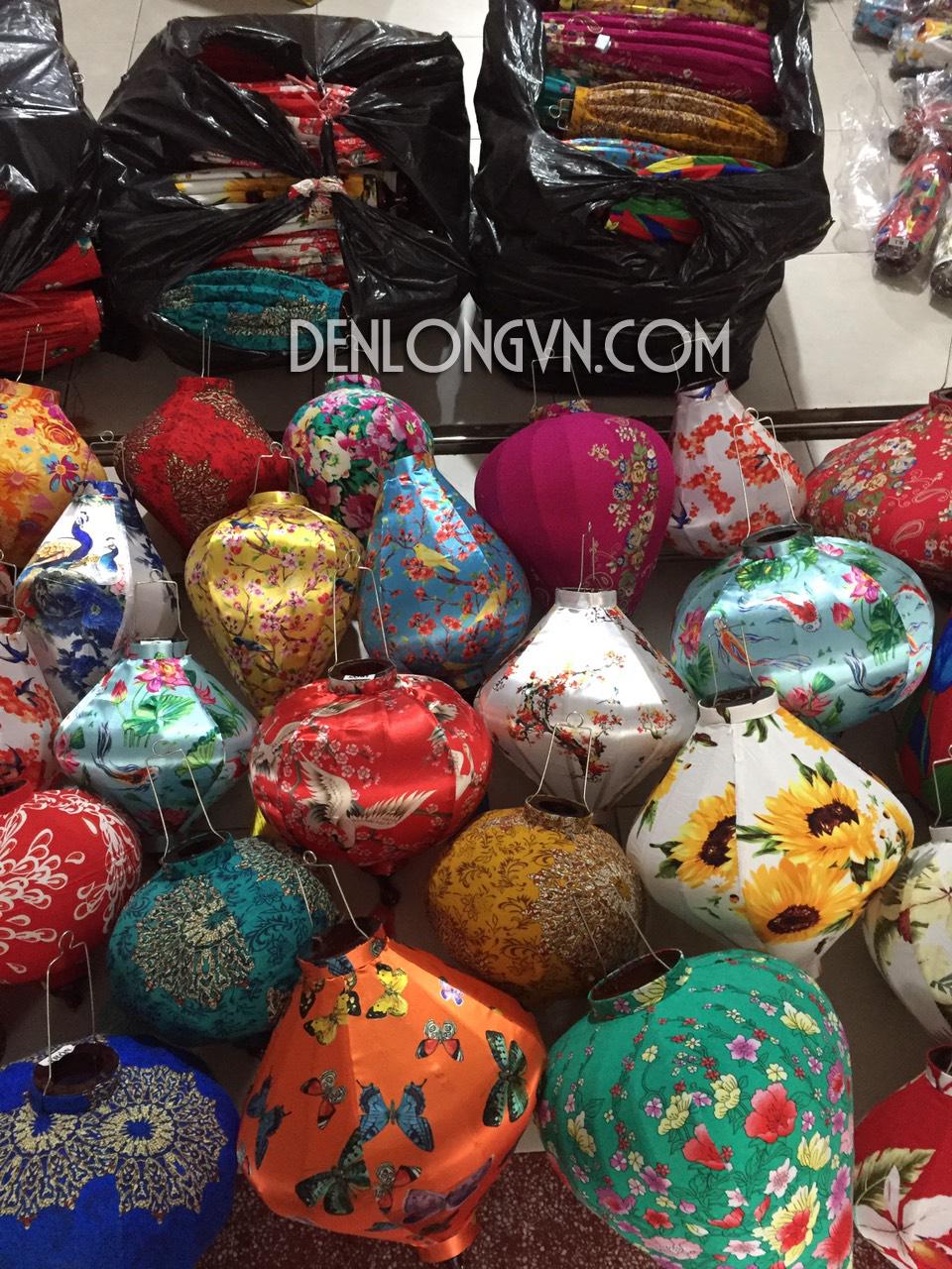 Đèn tre truyền thống vải bành hoa | Đèn lồng vải hoa mẫu 6