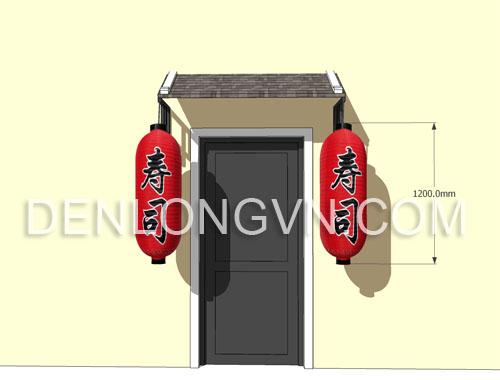 trang trí lồng đèn Nhật bản trước cửa nhà